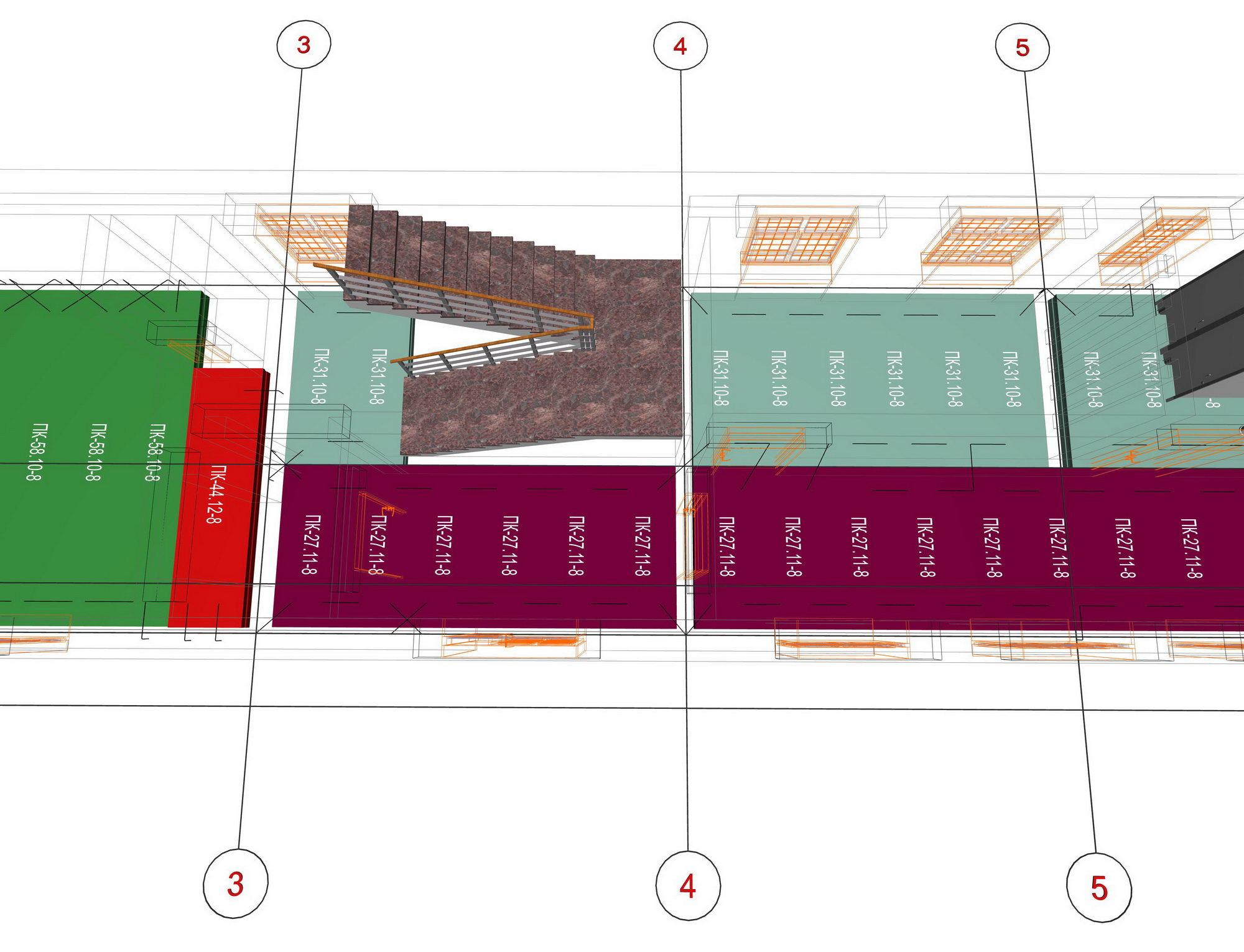 Схема раскладки ребристых плит перекрытия