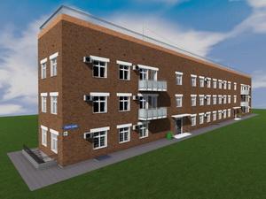 Проект трехэтажного офисного здания с техническим этажом