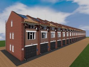 Готовый проект 20 блокированных двухэтажных гаражей с мансардой