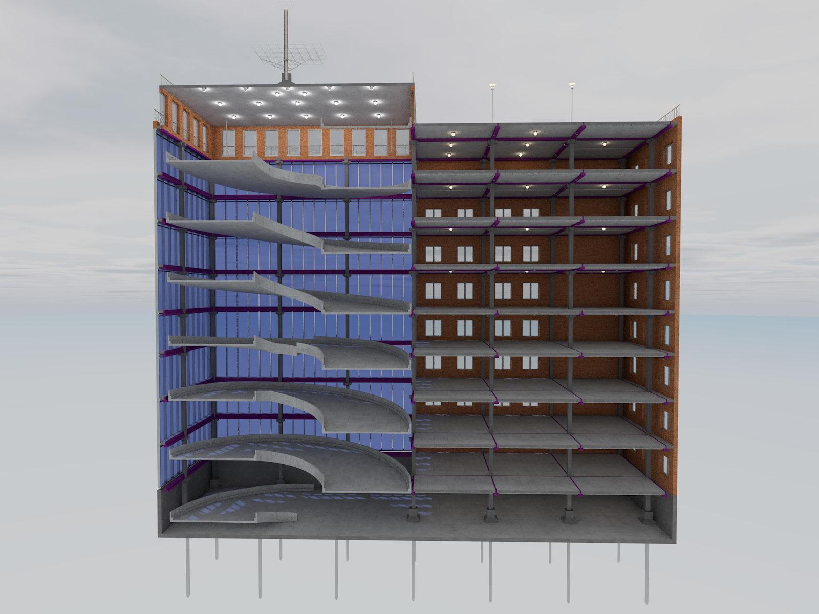 Многоэтажный паркинг разрез