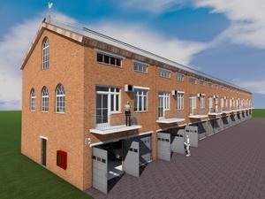 Проект 10 блокированных двухэтажных гаражей с коммерческими помещениями