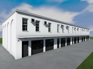 Проект 5 двухэтажных гаражей на 10 машиномест с коммерческими помещениями
