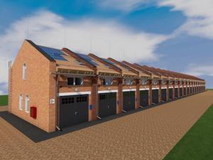Готовый проект 20 блокированных одноэтажных гаражей с мансардой