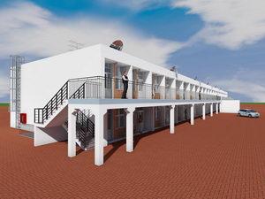 Готовый проект двухэтажной гостиницы галерейного типа