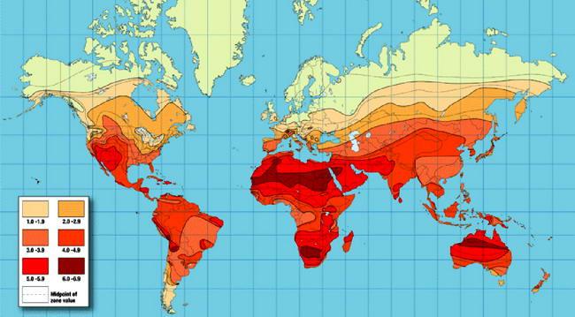 Глобальная карта инсоляции