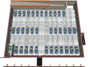 Зона орошения подземного паркинга автоматической водяной спринклерной системой пожаротушения