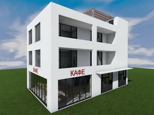 Проект трехэтажного частного дома с нежилыми помещениями на 1 этаже