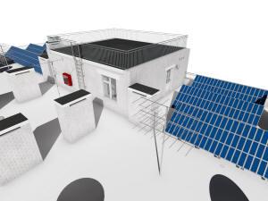 Общий вид сверху дома и подземного паркинга