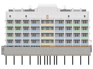 Задний фасад многоэтажного дома с подземным паркингом