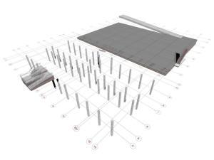 Координационные оси здания и паркинга