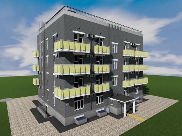 Проект одноподъездного трехэтажного жилого дома на 6 квартир