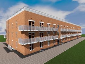 Проект трехэтажного двухподъездного дома на 96 квартир-студий
