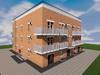 Проект трехэтажного одноподъездного дома на 16 квартир-студий с нежилыми помещениями