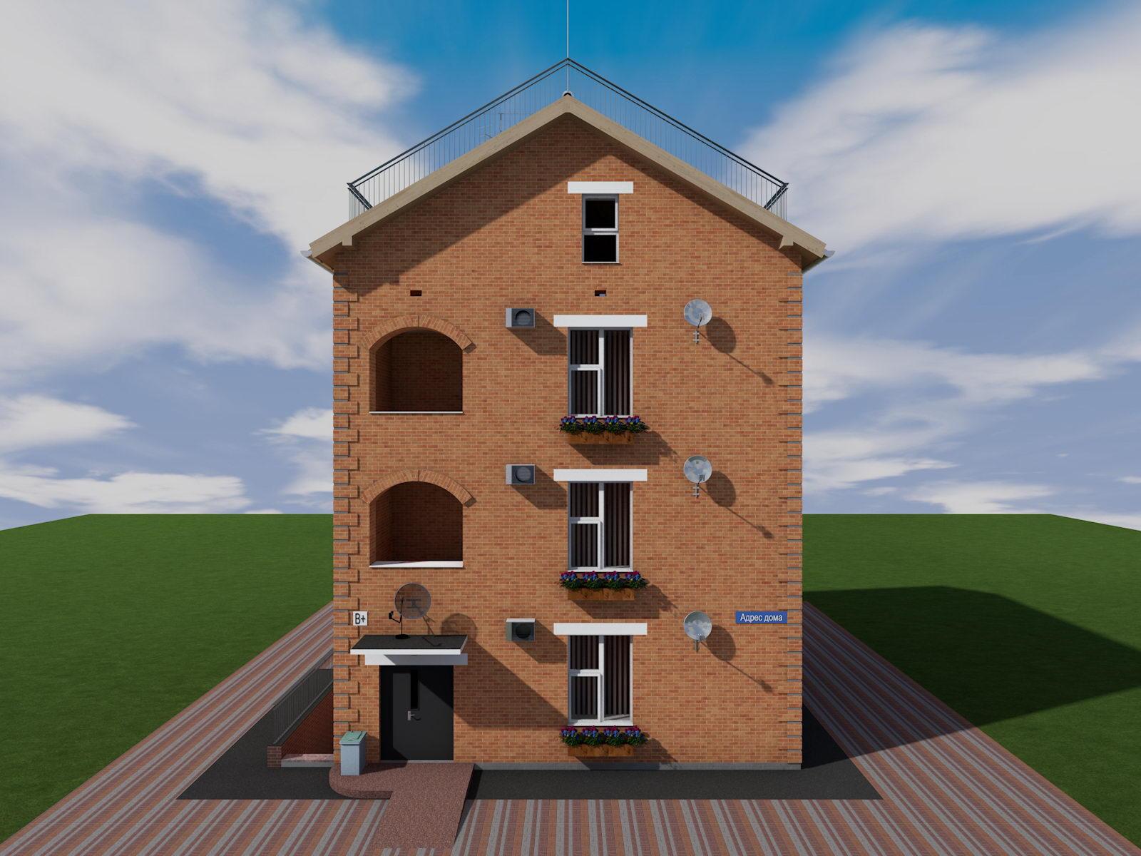Проекты домов четырех квартир