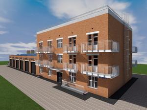 Проект трехэтажного дома на 6 квартир с пристроенным гаражом