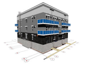 Готовый проект трехэтажного жилого дома на 7 квартир с гаражом на 1 этаже