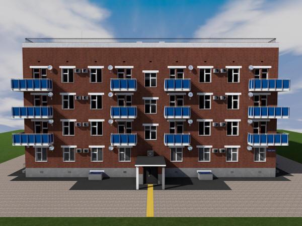 Готовый проект трехэтажного жилого дома на 16 квартир с паркингом на 1 этаже