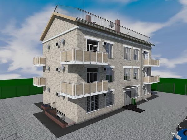 Готовый проект трехэтажного жилого дома на 12 квартир с гаражами на 1 этаже