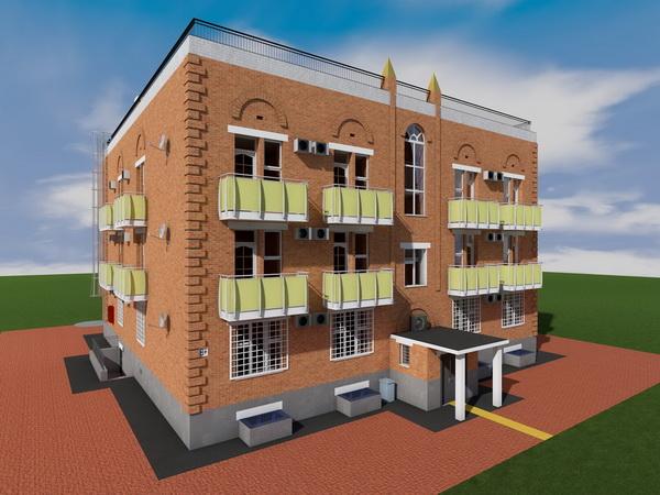 Готовый проект трехэтажного жилого дома на 12 квартир с паркингом на 1 этаже