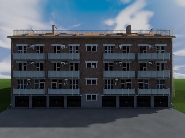Готовый проект трехэтажного жилого дома на 8 квартир с паркингом на 1 этаже