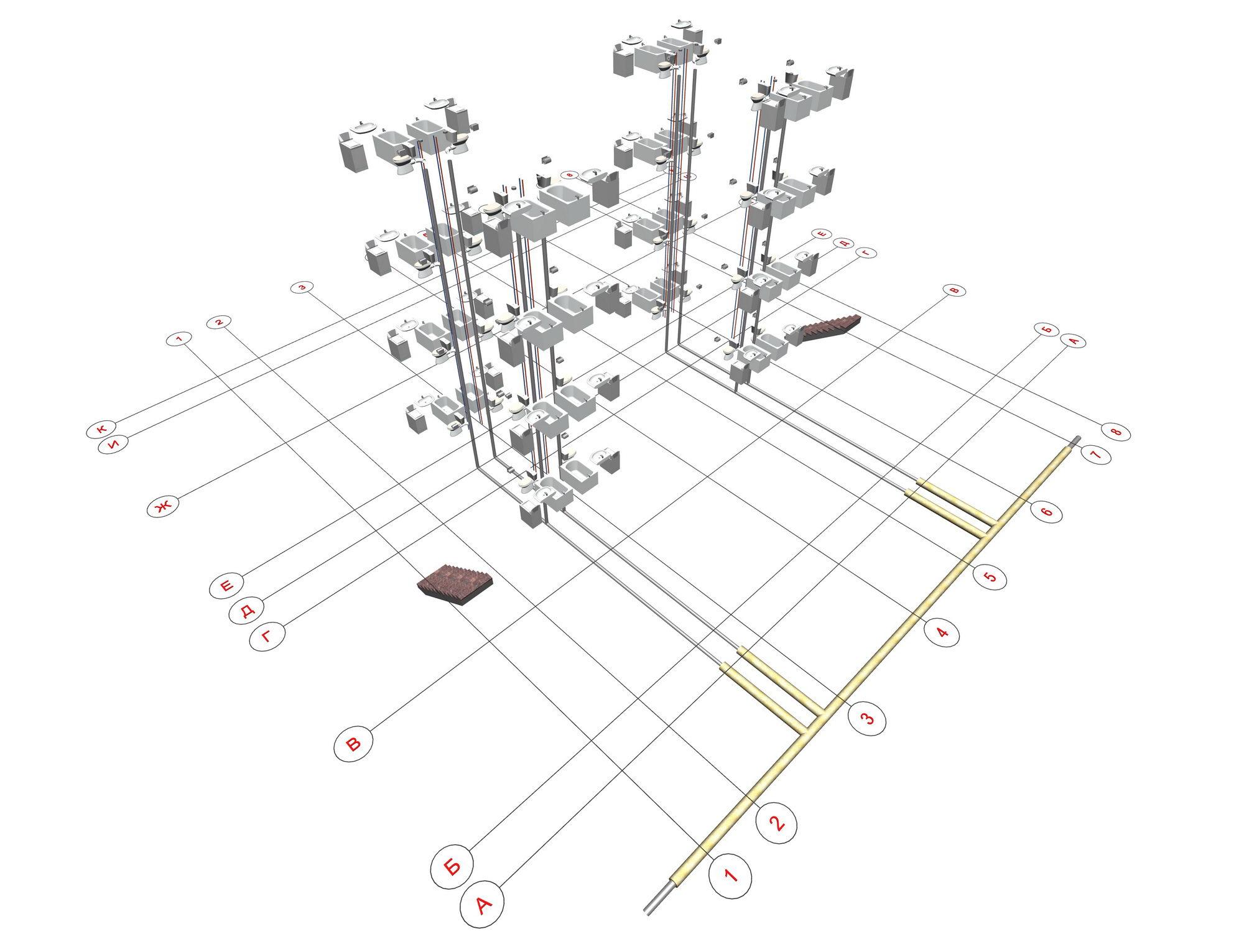 Схема вентиляционных каналов многоквартирного дома