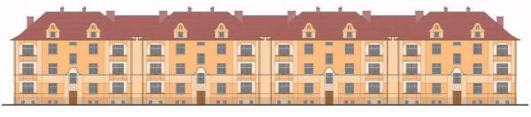 Проект трехэтажного четырехподъездного жилого дома