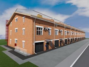 Готовый проект трехэтажного таунхауса. Десять блокированных домов.