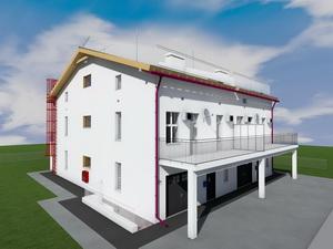 Готовый проект трехэтажного таунхауса с мансардой. Два блокированных дома.