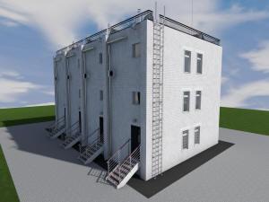 Проект трехэтажного таунхауса с гаражом на 5 семей