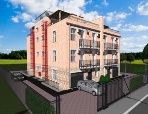Готовый проект трехэтажного квадрохауса - 4 блокированных дома