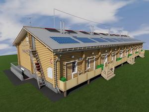 Проект одноэтажного таунхауса из бруса на 10 семей