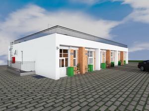 Готовый проект одноэтажного таунхауса галерейного типа для строительства на склоне