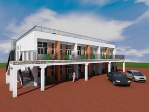 Проект двухэтажного таунхауса галерейного типа на 12 семей