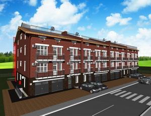 Готовый проект четырехэтажного таунхауса с лифтом (четыре блокированных дома)