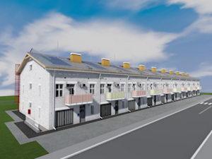 Готовый проект трехэтажного таунхауса. Десять сблокированных домов.