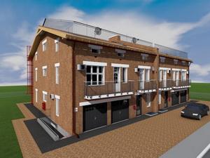 Готовый проект трехэтажного таунхауса (два блокированных дома - дуплекс)