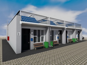 Небольшой дачный дом с мансардой и боковым гаражом R1489