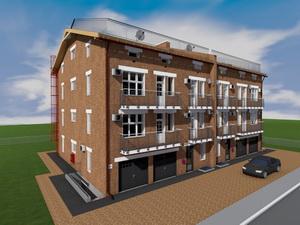 Готовый проект четырехэтажного таунхауса (два блокированных дома - дуплекс)