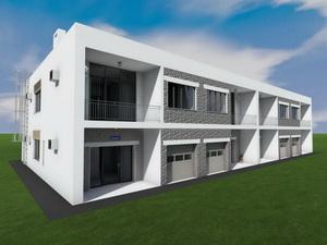 Готовый проект двухэтажного таунхауса на 4 семьи