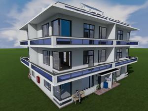 Проект трехэтажного квадрахауса с балконами